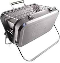 BRISA VW Collection - Volkswagen Bus T1 Camper Van Kombi Portable Suitcase BBQ Grill with Grill Grid, Collecting Tray for Coal & Handle, Gift Idea/Grill Accessories/Outdoor (Stainless Steel)