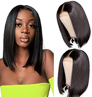 12 Inch Short Bob Wigs Human Hair Lace Closure Wigs Brazilian Virgin Human Hair Straight Bob lace Front Wigs For Black Wom...