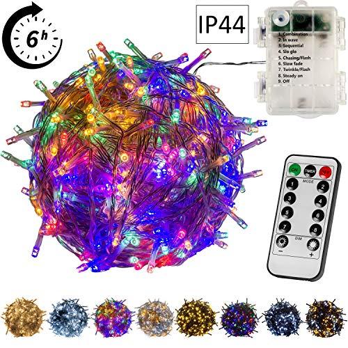 VOLTRONIC® 50 100 200 LED Lichterkette, BATTERIEBETRIEBEN, innen + außen (IP44), Timer, 8 Programme, Fernbedienung, warmweiss/kaltweiss/bunt/warmweiß+kaltweiß