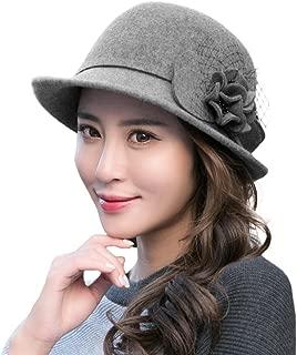 Womens 1920s Vintage Wool Felt Cloche Bucket Bowler Hat Winter Crushable