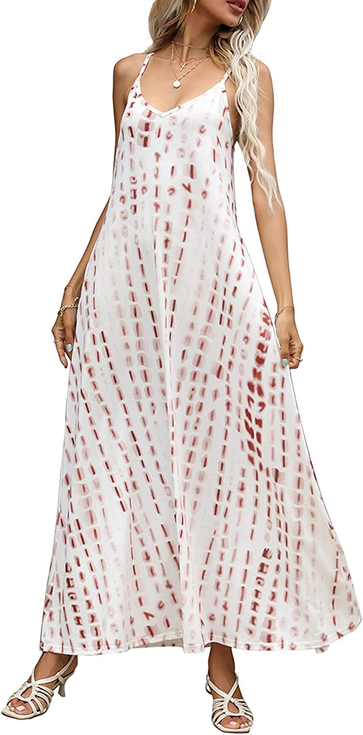 Women's Summer Casual V Neck store S Printed Floral Max 46% OFF Bohemian Spaghetti