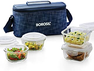 Borosil ICYS4INDSRDU Indigo Glass Universal Lunch Box Set of 4, (2pcs 320 ml Sq. + 2pcs 240 ml Round) Microwave Safe Offic...