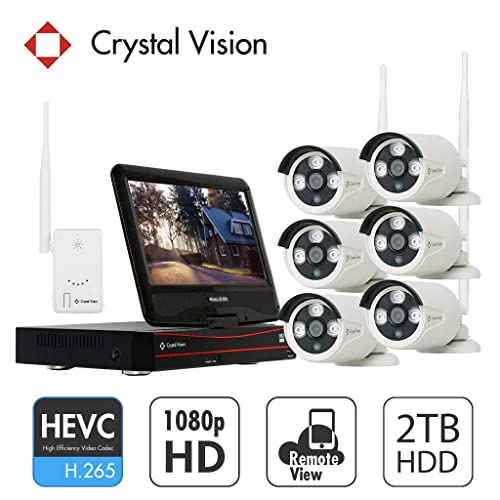 [8CH] Crystal Vision CVT808A-20WB 1080P Full HD Wireless Surveillance System NVR CCTV w/ 2TB HDD, Built-in Monitor & Router, 2MP Camera Auto Pair