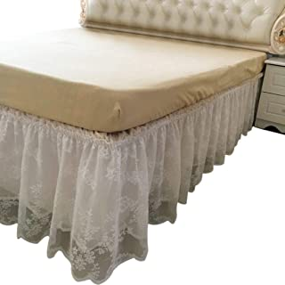 "FREAHAP R Wrap-Around Lace Bed Skirt Dust Cover Ruffle Bed Sheet Case 14.96"" Drop"