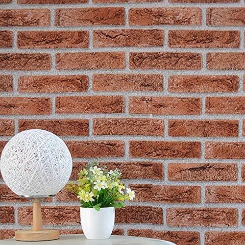 HJHNZDZH Brick Effect Wallpaper, Selbstklebendes Kontaktpapier, Wasserdichte Küche Badezimmer Schlafzimmer Tapeten 3D Slate Stone Brick Effect Paste Schälen und Kleben das Papier 45 cm × 10 m