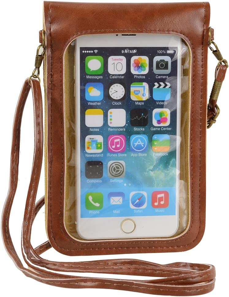 Touch Screen Cell Phone Purse Wallet Cute Small PU Leather Crossbody Bag for iPhone 11 XR XS Max 8 Plus 7 Plus, Galaxy Note10 A20 S10 Plus S9 Google Pixel 3a Xiaomi Mi 9T Redmi Note 6 Pro (Brown)