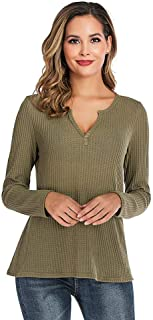 Women's Long Sleeve T-Shirt V-Neck Loose Fit Waffle Knit Thermal Tops