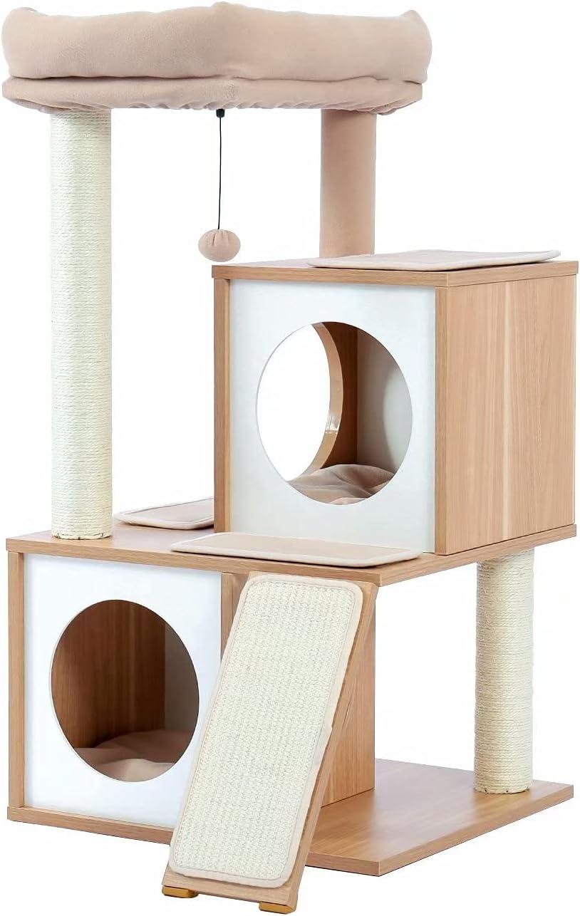 Cat Tree Wood Cool Brand new Sisal Scratching Post Kitten Furniture Bombing new work Plush