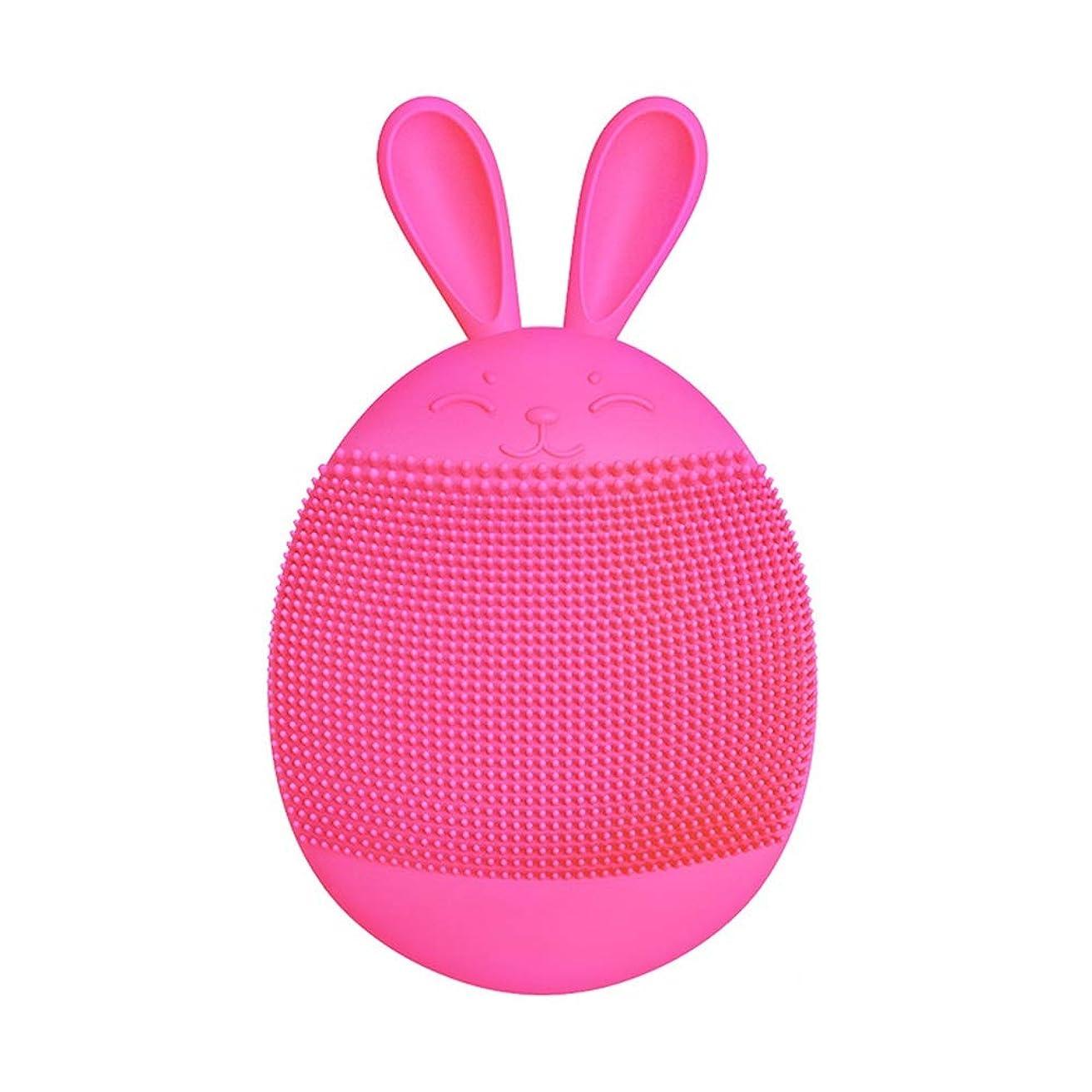 一回規制する圧縮するZXF 超音波電動シリコーン洗顔器ポア洗顔洗顔ピンクレッド 滑らかである (色 : Red)