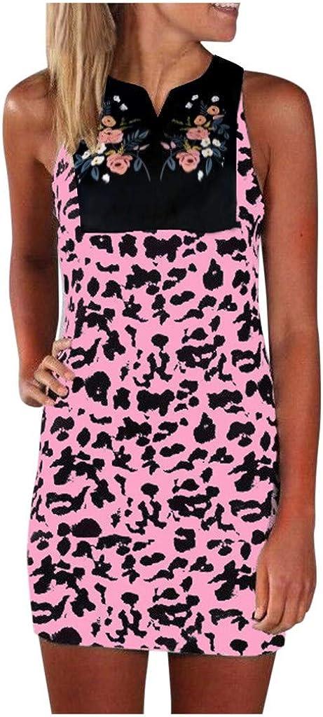 Toeava Women's Dress Sleeveless Leopard Print Tank Mini Dress Summer Daily self-Cultivation Beach Party Evening Dress