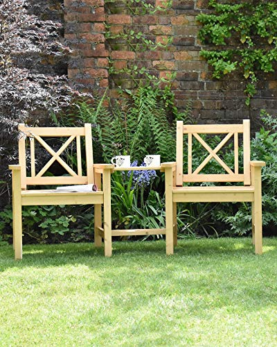 Sue Ryder Garden Companion Seat 2 Seater Tete a Tete Solid Natural Wood Outdoor Seat Traditional Furniture