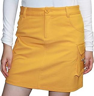 7555 MUS 3L 後ろポケットストレッチ入カーゴスカート(アンダーパンツ付) 大きいサイズ スカート デルソル ゴルフウェア レディース マスタード スカート