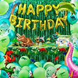 Partyville Dinosaur Party Decorations For Birthday Party - 184 Pcs w/Most Dinosaur Balloons - Party In A Box Dinosaur Birthday Party Supplies - Dinosaur Decorations w/Backdrop & Cups Cutlery Plates