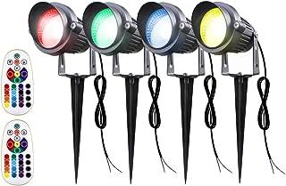 Sunriver 4Pack Color Changing Landscape Lights, Remote Control 6W RGB Landscape Spotlights Lighting 12V 24V Low Voltage Waterproof Garden Pathway Lights for Outdoor Decor