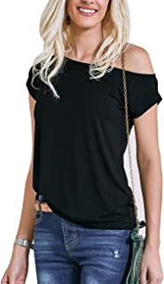 Women's 80s Off Shoulder Tops Short Sleeve Casual Loose Fitted Blouse T-Shirt