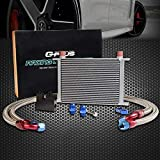 25 Row Aluminum Engine Transmission Oil Cooler Kit Compatible For BMW N54 Engine Twin Turbo 135 E82 335 E90 E92 E93 Silver