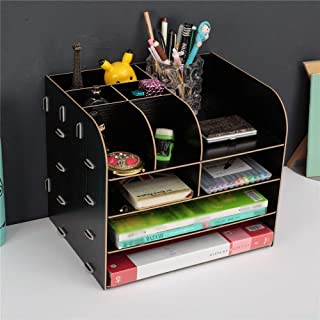Wecnday-Home Tidy Storage Large Desktop Drawer Storage Box Wooden File Rack Wooden File Information Rack Desktop Storage Box Desk Supplies (Color : Black, Size : 322527cm)