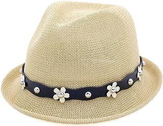 Hats and Caps Wheat Hat Sun Hat Distaff Summer Korean Fashion Hat Spring Autumn Flowers Beaded Jazz Hat British Casual (Color : Khaki, Size : 56-58CM)