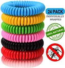 24 Pack Mosquito Repellent Bracelet Band for Kids, Adults & Pets-100% Natural DEET-Free, Non Toxic, Waterproof Safe Travel Anti Insect Bands for Outdoor & Indoor-350Hrs of Protection