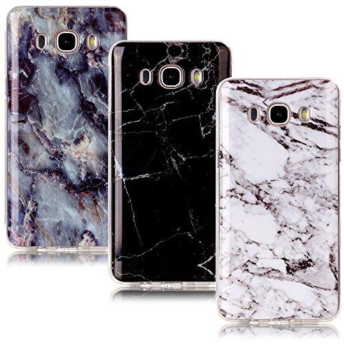 CLM-Tech 3in1 Accesorios Set: 3 x TPU Gel Silicona Funda Carcasa para Samsung Galaxy J5 (2016) Tapa Case Mármol Patrón Negro Blanco Colorido Cover