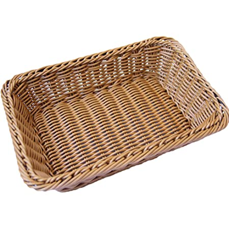 QMYS Panier à pain en osier de bambou de couleur naturelle - Plateau de rangement rectangulaire en imitation rotin - Pour table basse - Décoration de fruits ou collations - Taille M