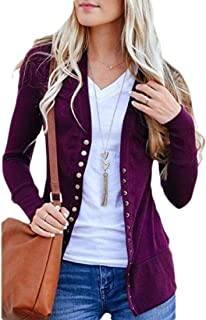 Women Basic Long Sleeve Snaps Button Down V Neck Cute Knit Sweater Cardigan