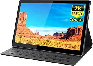 Portable 2k Touchscreen Monitor,Eleduino On-The-Go Dual-Screen Laptop Monitor,13.3 Inch QHD IPS Display, USB C Eye Care Gaming Monitor with Type-C Mini HDMI for Laptop PC MAC Phone Xbox PS4 Nintend