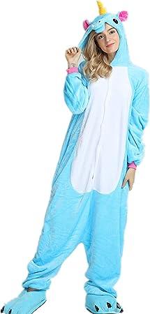 Kenmont Unicornio Juguetes y Juegos Traje Disfraz Animal Ropa de Dormir Cosplay Disfraces Pijamas para Adulto Niños (S: 148-160CM, Azul)