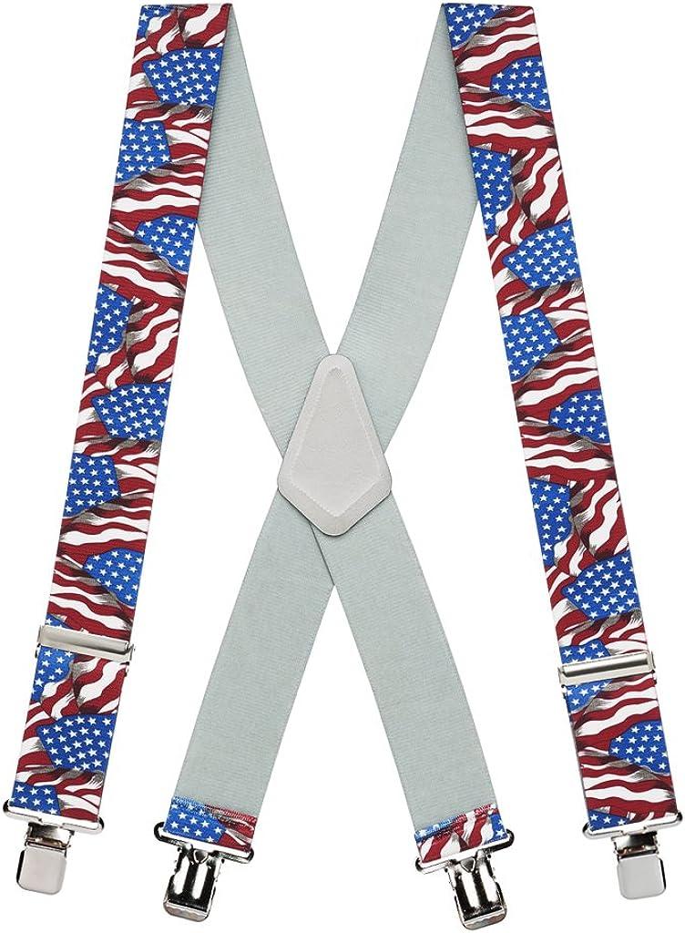 SuspenderStore Men's American Flag Suspenders - Boston Mall Nic Wide 2-Inch Max 73% OFF