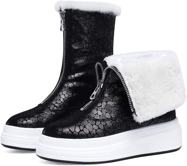 Ladies Snow Boots Autumn and Winter Plus Velvet Warm Thick Platform Boots Black Fashion Casual shoes