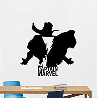 Captain Marvel Wall Decal Silhouette Shazam Logo Superhero Comics Cartoon Poster Stencil Wall Vinyl Sticker Kids Teen Boy Room Nursery Bedroom Wall Art Decor Mural 178RT