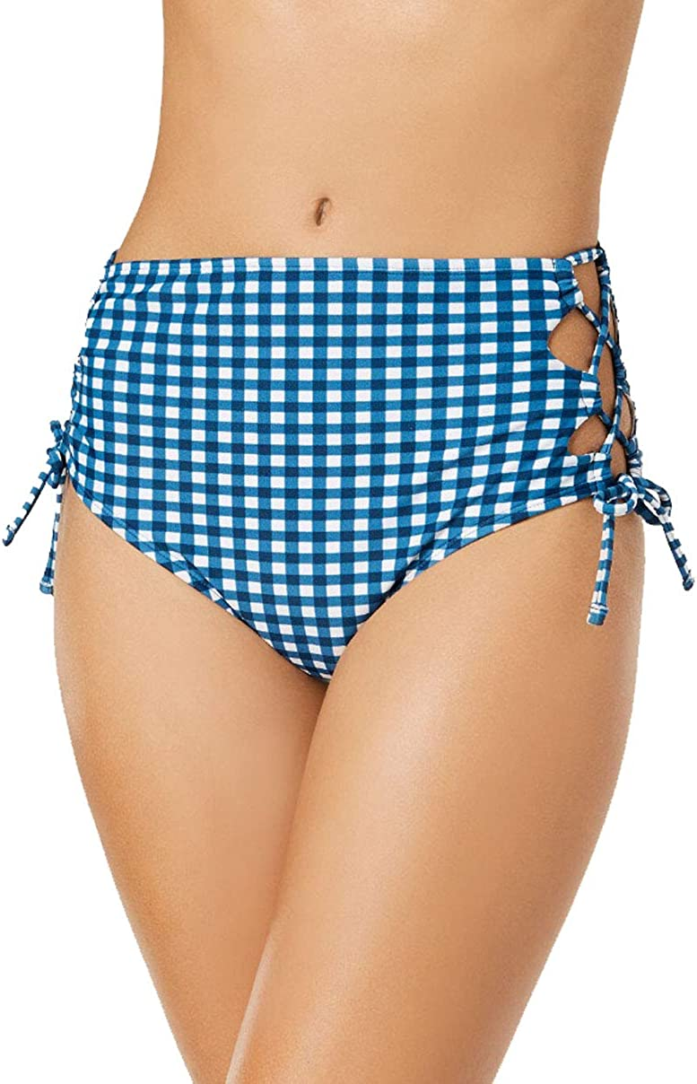 Hula Honey Juniors' Picnic Gingham Printed High-Waist Lace-Up Bikini Bottoms