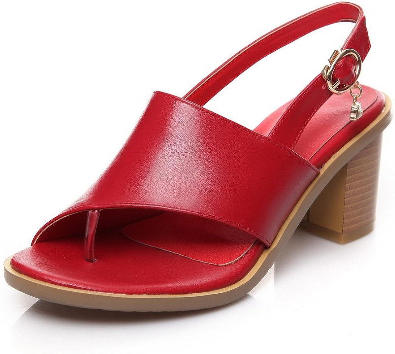 AmoonyFashion Women's Buckle Split Toe Kitten Heels Cow Leather Solid Sandals