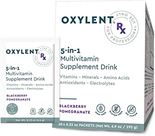 Oxylent Rx, 5-in-1 Multivitamin Supplement Drink - Sugar-Free & Effervescent for Easy Absorption of Vitamins, Minerals, Electrolytes, Antioxidants, Sparkling BlackBerry Pomegranate Flavor, 30 Count