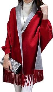 topmodelss レディース ストールマント 秋冬 袖付き マフラー 無地 両面 シンプル スカーフ ゆったり エレガント ポンチョ 韓国風 ファッション フリンジ