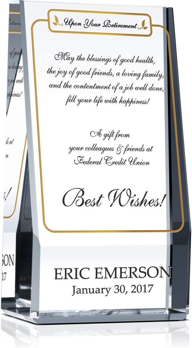 Personalized Cheap mail order sales Albuquerque Mall Crystal Best Wishes Retirement for Plaque Cowo Gift