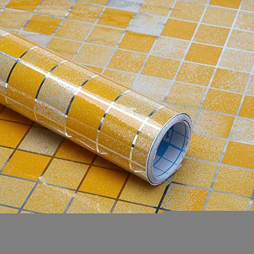 ahllwei Wandaufkleber Wandtattoo Kreative Dunstabzugshaube Herd wasserdichte Aufkleber Mosaik Kleine Quadratische Rauchdicht Kann Peeling Reinigung Aufkleber 45 * 400 cm Orange Gelb