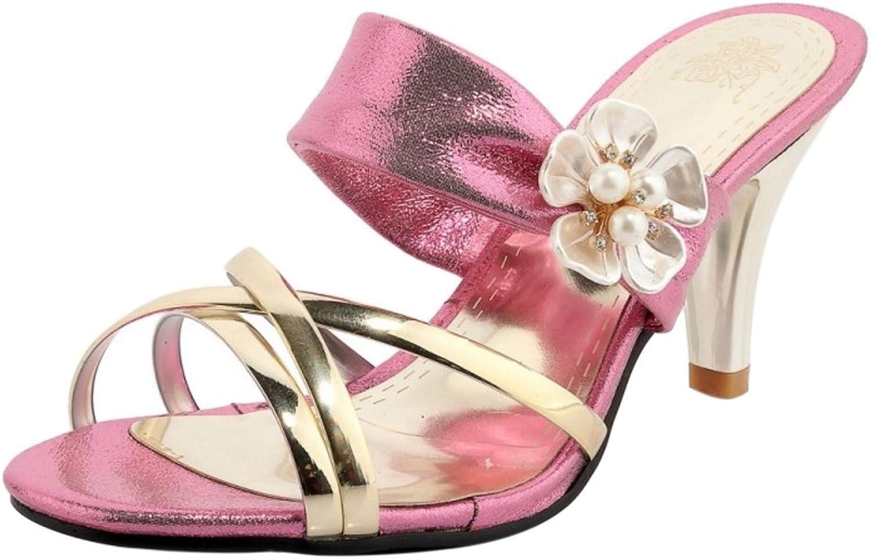 TAOFFEN Women Slip On Heels Sandals