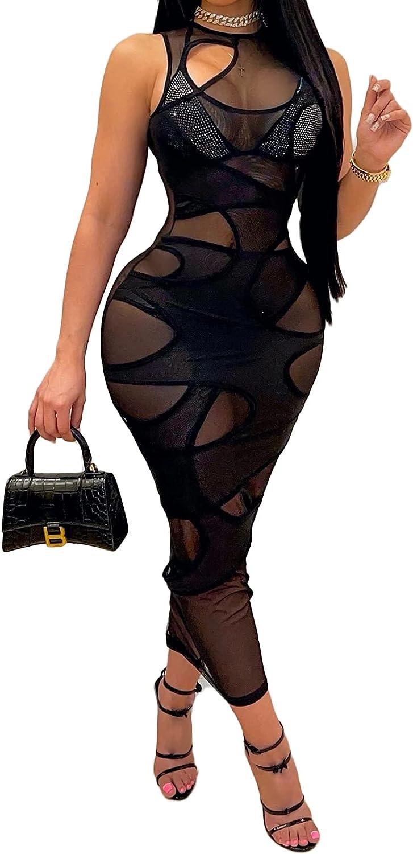 Uni Clau Women's Sexy See Through Sleeveless Maxi Dress Irregular Sheer Mesh Printed Maxi Bodycon Party Long Dress