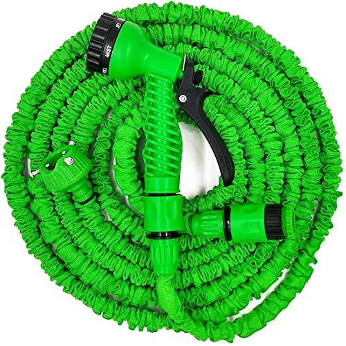 Alittle Tubo de Manguera de jardín expandible + Conector de Grifo + Boquilla de pulverización multifunción para jardinería, Lavado de Autos, Verde, tamaño Surtido (25 pies)