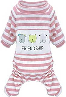 Stock Show Pet Dog Pajamas Small Dogs Soft Comfortable Cotton Stripe Jumpsuit Friendship Cartoon Dog Pattern Printing Apparel Shirt Puppy Clothes for Small Medium Dog Cat Chihuahua Yorkies