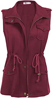 Women's Zip Up Drawstring Anorak Jacket Military Vest Outerwear w/Pockets
