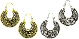 Kaizer Jewelry Special Tribal Collection of Oxidized Silver (Gold) Hanging Earrings for Women Girls (Gift) DS-22