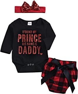 9134ba6dc BELS Baby Girl Christmas Romper Clothes + Plaid Shorts + Bow Headband  Casual Outfit