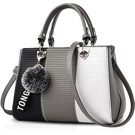 NICOLE & DORIS 2021 Neue Frauen Tasche Damen Leder Handtasche Mode Umhängetasche Mit Pompon abnehmbarem Schultergurt Handtasche Grau