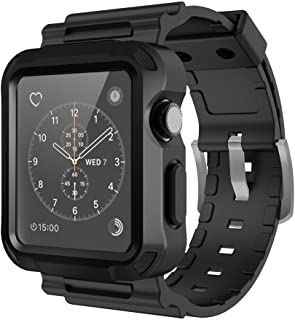 Simpeak Replacement Band for Apple Watch 3, Grey Rugged Protective Case with Black Strap Bands for Apple Watch 42mm Series 1 Series 2 Series 3