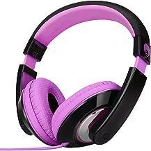 Rockpapa Comfort Stereo On Ear/Over Ear Headphones Earphones, Adjustable Headband for Kids Childs/Adults, iPad MacBook Surface MP3/4 CD/DVD Laptop Tablet Phone Black Purple