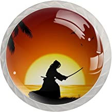 AITAI Japan Kendo Silhouet Strand Zonsondergang Kokosnoot Boom Ronde Kast Knop 4 Pack Trekt Handgrepen
