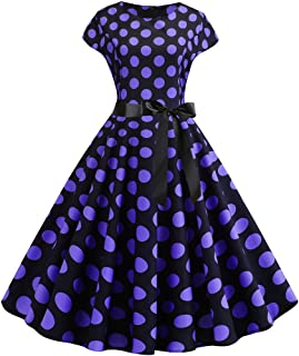 Prom Dresses for Women,Women Vintage 1950s Retro Short Sleeve Dot Print Evening Party Prom Swing Dress
