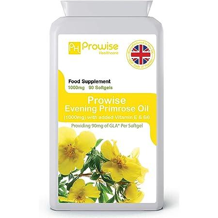 Olio di enotera 1000mg aggiunto con vitamina E e B6 90 Softgels - Supporta livelli di ormoni bilanciati, salute mestruale nelle donne - Prodotto nel Regno Unito   Standard GMP di Prowise Healthcare